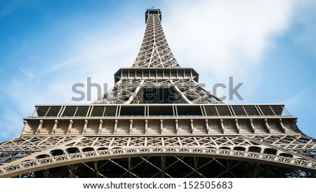Eiffel tower in Sunny day - stock photo