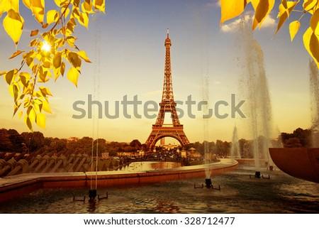 Eiffel Tower (La Tour Eiffel) with fountains. Beautiful sunset landscape in Paris.  - stock photo