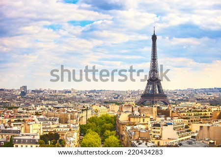 Eiffel Tower landmark, view from Arc de Triomphe. Paris cityscape. France, Europe. - stock photo