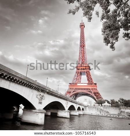 Eiffel tower monochrome selective colorization - stock photo