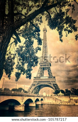 Eiffel tower monochrome vintage - stock photo