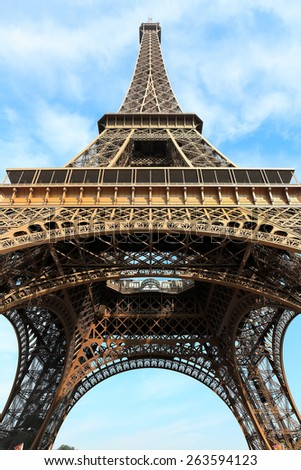 Eiffel tower most popular attractions in Paris - stock photo