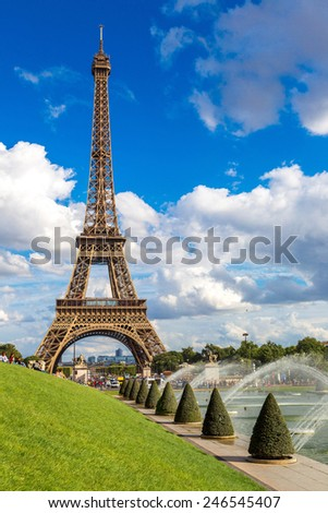 Eiffel Tower most visited monument in France and the most famous symbol of Paris - stock photo
