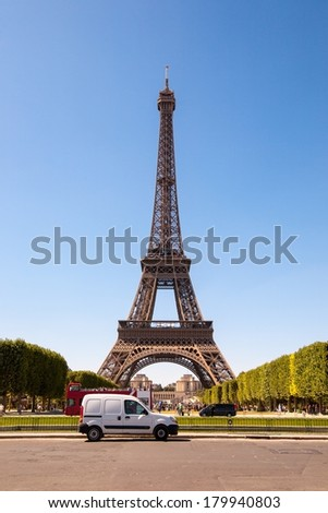 Eiffel Tower on a clear day in Paris, France/Eiffel Tower on a clear day/Eiffel Tower on a clear day in Paris, France - stock photo