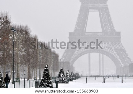 Eiffel Tower on a cold winter day - stock photo