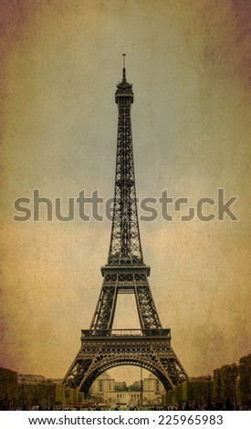 Eiffel tower on old background texture  - stock photo