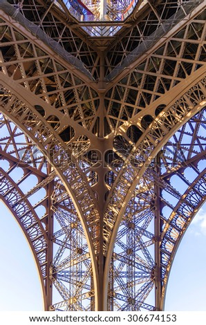 Eiffel tower. Paris. Detail of the structure. - stock photo