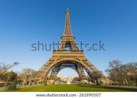 Eiffel Tower, Paris, France on clear blue sky - stock photo