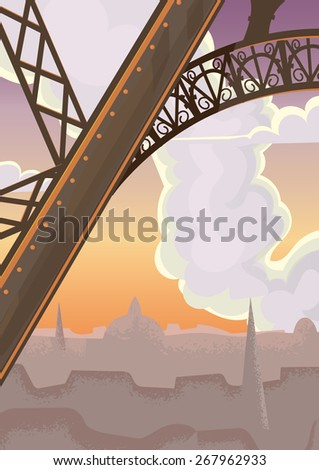 Eiffel Tower paris, this is a vintage style illustration of a leg of the famous Eiffel Tower in Paris, France. - stock photo