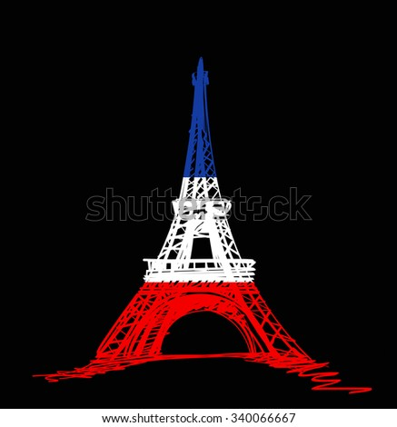 Eiffel Tower reopens lit up with colours of French flag - stock photo