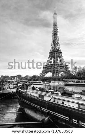 Eiffel Tower River View with Boat - stock photo