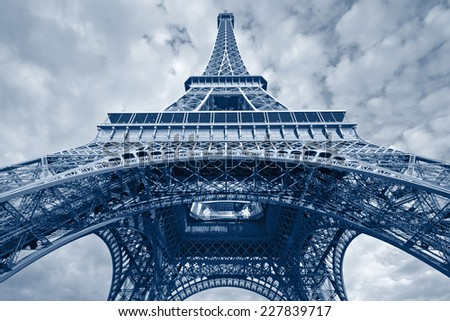 Eiffel Tower. Toned image of Eiffel Tower in Paris, France. - stock photo