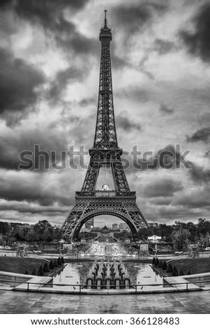 Eiffel Tower (Tour Eiffel) in Paris, France. Black and white photo - stock photo