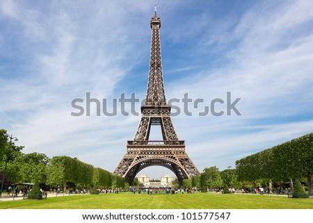 Eiffel Tower, tourist attraction in Paris - stock photo
