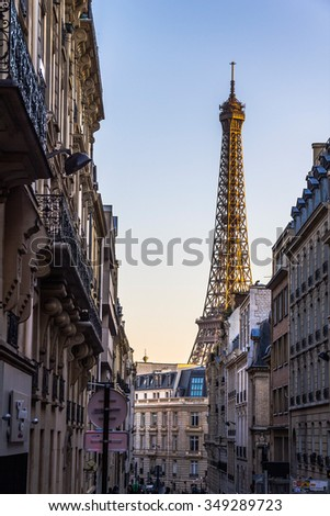 Eiffel Tower view in romantic alleyway, Paris, France - stock photo