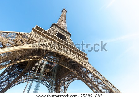 Eiffel Tower with blue sky summer, Paris France - stock photo