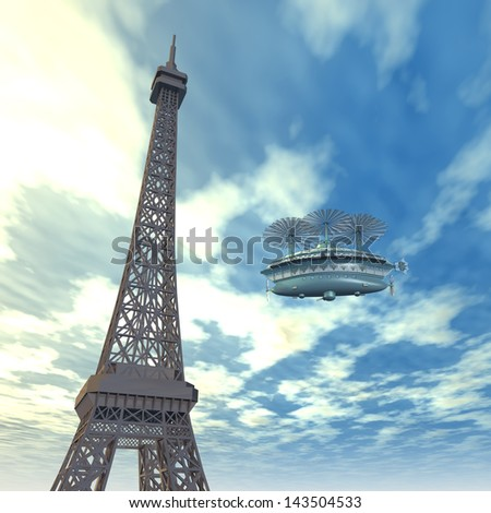 Eiffel Tower with Fantasy Airship Computer generated 3D illustration - stock photo