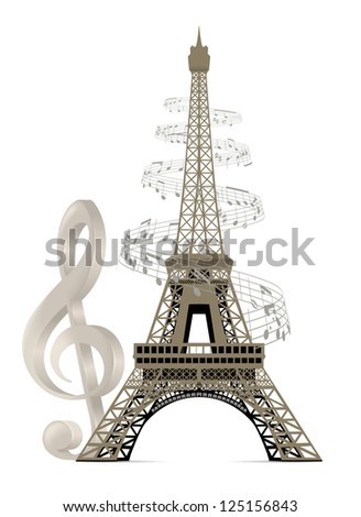 Eiffel Tower with musical notes and a treble clef - stock photo