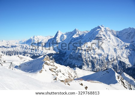 Eiger, Moench and Jungfrau, famous Swiss mountain peaks - stock photo