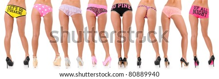 Eight Beautiful Sexy Women's Long Legs in Heels and Misc Bottoms - stock photo