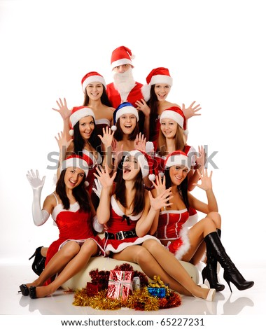 Eight beauty screaming women in Christmas costumes and Santa Claus, isolated on white. may be use for Christmas cards and posters - stock photo