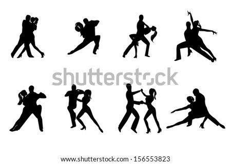 Eight black silhouettes couples dancing  - stock photo