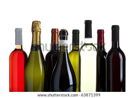 eight bottles of wine, champagne and prosecco, no labels, isolated on white - stock photo