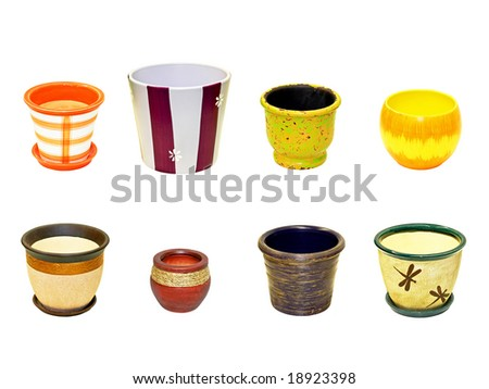 Eight different flowers pots isolated on white - stock photo