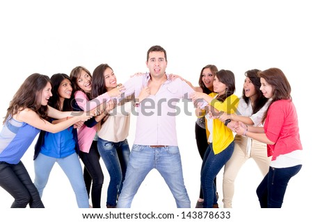 Eight Girls fighting over a guy - stock photo