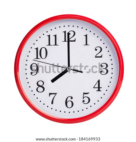 Eight hours on a red round dial - stock photo