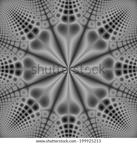 Eight Long Nosed Grey Spotted Critters /  A digital abstract fractal image with a monochrome spotted pattern design in black and white. - stock photo