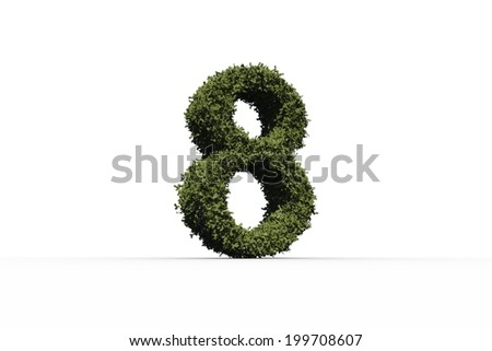Eight made of leaves on white background - stock photo