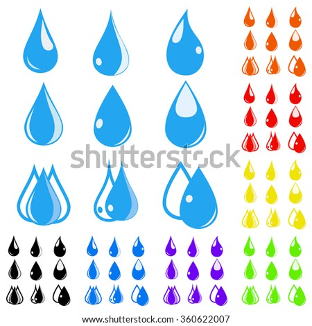 Eight sets of water drops in various colors. Flat design - stock photo