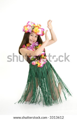 Eight year girl dressed in an Hula Dancers outfit on white background - stock photo