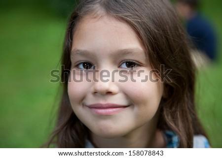 Eight yeas old girl - stock photo