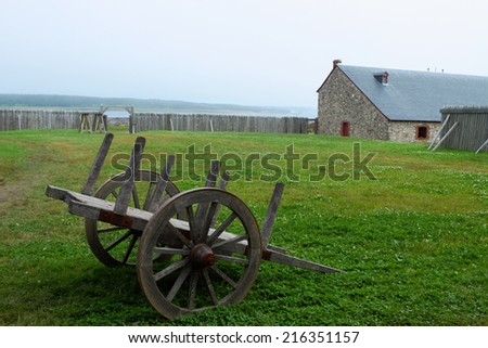 Eighteenth century style fortifications in Louisbourg national historic site, Nova Scotia, Canada. - stock photo