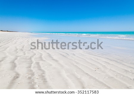Eighty Mile Beach is located on the beachfront between Port Hedland and Broome Australia This beach actually stretches for 220 kilometeres home land of the Nyangumarta people - stock photo