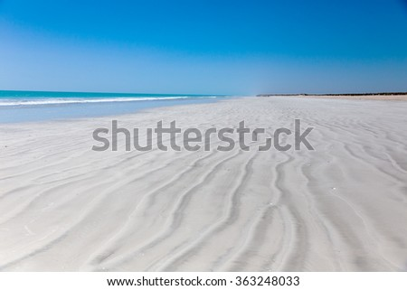 Eighty Mile Beach Western Australia popular destination between Port Hedland and Broome  - stock photo