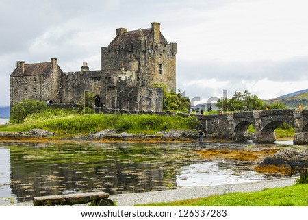 Eilean Donan Castle in the north of Scotland - stock photo