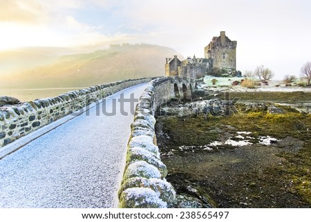 Eilean Donan Castle in winter. - stock photo