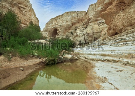 Ein Avdat National Park in the Negev desert. Magnificent canyon, creek and picturesque waterfall - stock photo