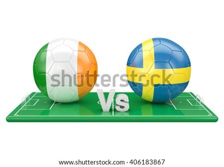 Eire / Sweden soccer game over soccer field 3d illustration - stock photo
