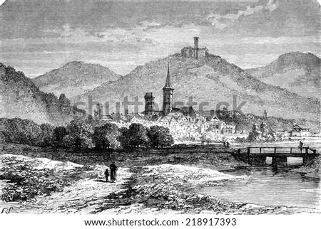 Eisenach, vintage engraved illustration. Le Tour du Monde, Travel Journal, (1872). - stock photo