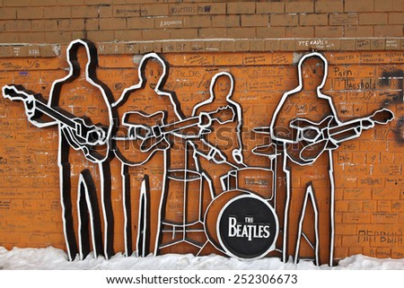 EKATERINBURG, RUSSIA - FEBRUARY 11, 2015: Photo of Monument to The Beatles. - stock photo