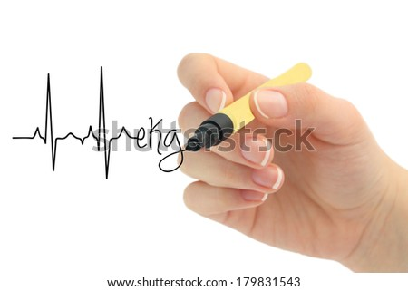 EKG - heart rate - stock photo