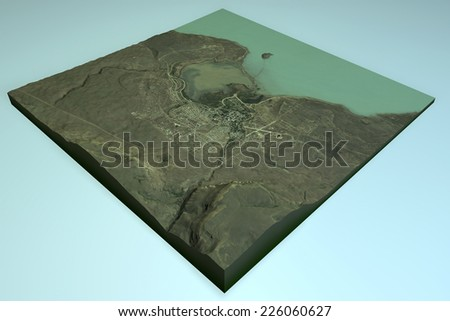 El Calafate, satellite view, Patagonia, Argentina, 3d section, map. Element of this image are furnished by NASA - stock photo
