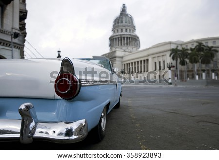 El Capitolio, or National Capitol Building in Havana, Cuba, was the seat of government in Cuba until after the Cuban Revolution in 1959, and is now home to the Cuban Academy of Sciences.  - stock photo