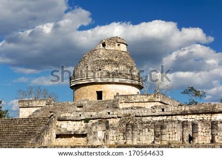 El Caracol (the snail) Mayan observatory ruin at Chichen Itza, Yucatan, Mexico. - stock photo