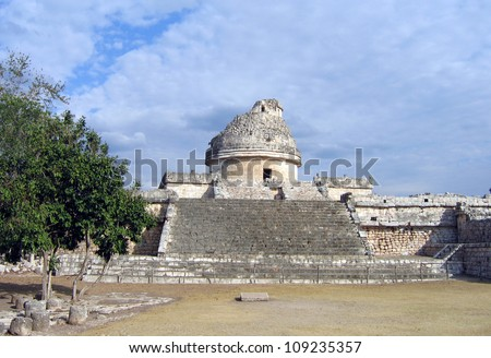 El Castillo the castel of Chichen Itza in the yucatan was a Maya city and one of the greatest religious center and remains today one of the most visited archaeological sites in Mexico - stock photo