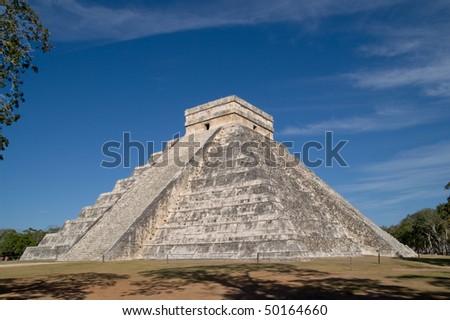 El Castillo (the castle) - Temple of Kukulkan, Chichen Itza, Yucatan, Mexico - stock photo